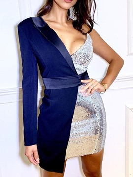 Ericdress Sequins Above Knee Long Sleeve Bodycon Regular Dress