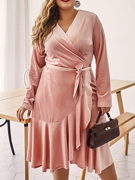 Ericdress V-Neck Long Sleeve Mid-Calf Regular Plain Dress