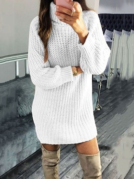 Ericdress Turtleneck Long Sleeve Above Knee Regular Straight Dress