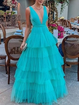 Ericdress V-Neck Tiered Prom Dress