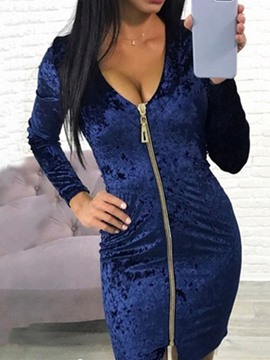 Ericdress Long Sleeve V-Neck Zipper Bodycon Sexy Dress