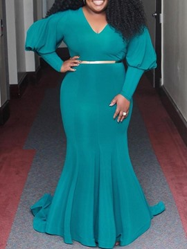 Ericdress Plus Size Long Sleeve V-Neck Floor-Length Mermaid Elegant Dress