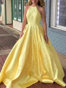 Ericdress Halter A-Line Pearls Daffodil Prom Dress 2019