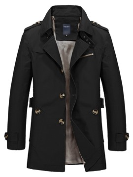 Ericdress Lapel Mid-Length Plain Slim Single Men's Trench Coat