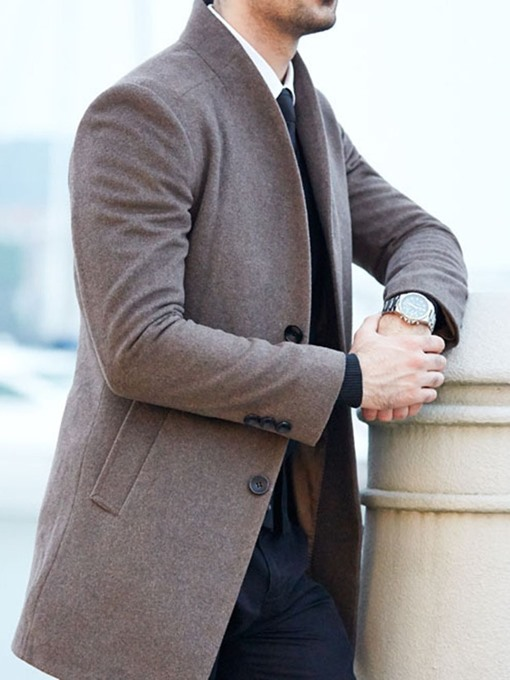 Ericdress Mid-Length Button Plain A Line Single-Breasted Men's Coat