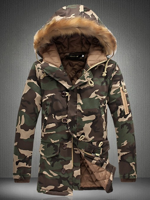Ericdress Camouflage Hooded Button Casual Zipper Men's Down Jacket