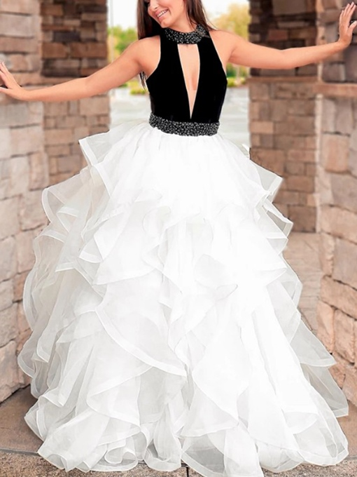 Ericdress Beading High Neck Hollow Ruffles Prom Dress