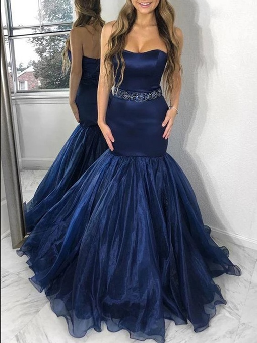 Ericdress Strapless Beading Mermaid Prom Dress 2019