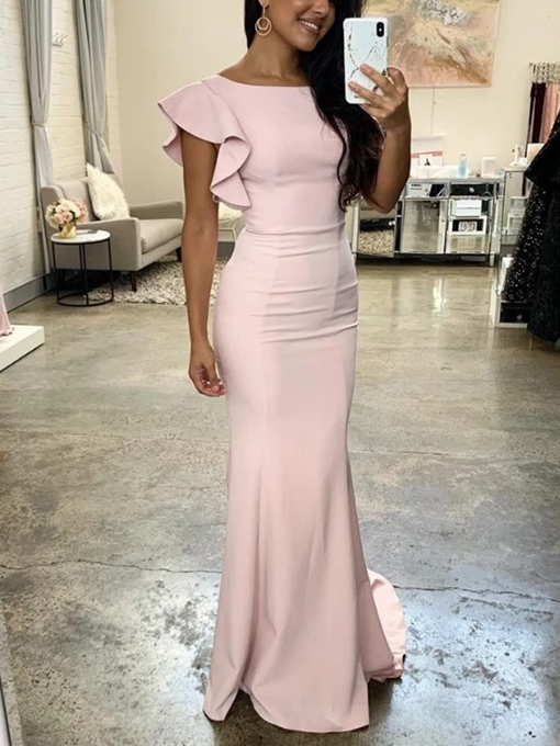 Ericdress Ruffles Cap Sleeves Sheath Prom Dress 2019