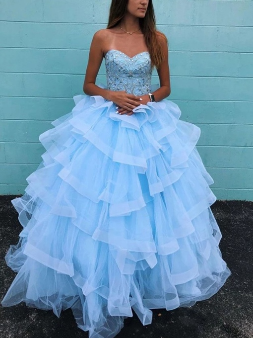 Ericdress Sweetheart Appliques Beading Quinceanera Dress 2019