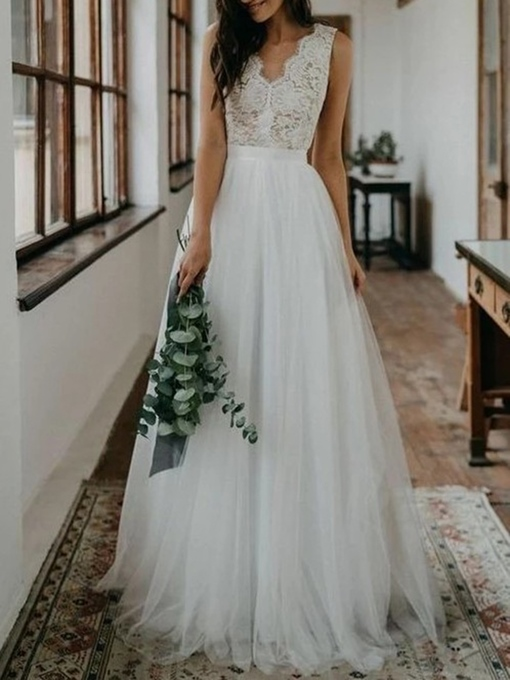 Ericdress A-Line Lace Outdoor Wedding Dress 2019