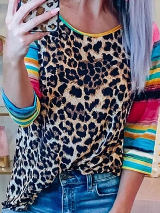 Ericdress Mid-Length Leopard Round Neck Fall Straight T-Shirt