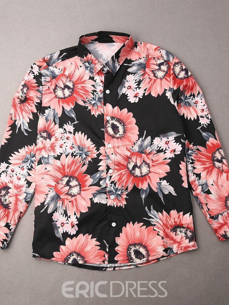 Ericdress Button Floral European Single-Breasted Men's Shirt