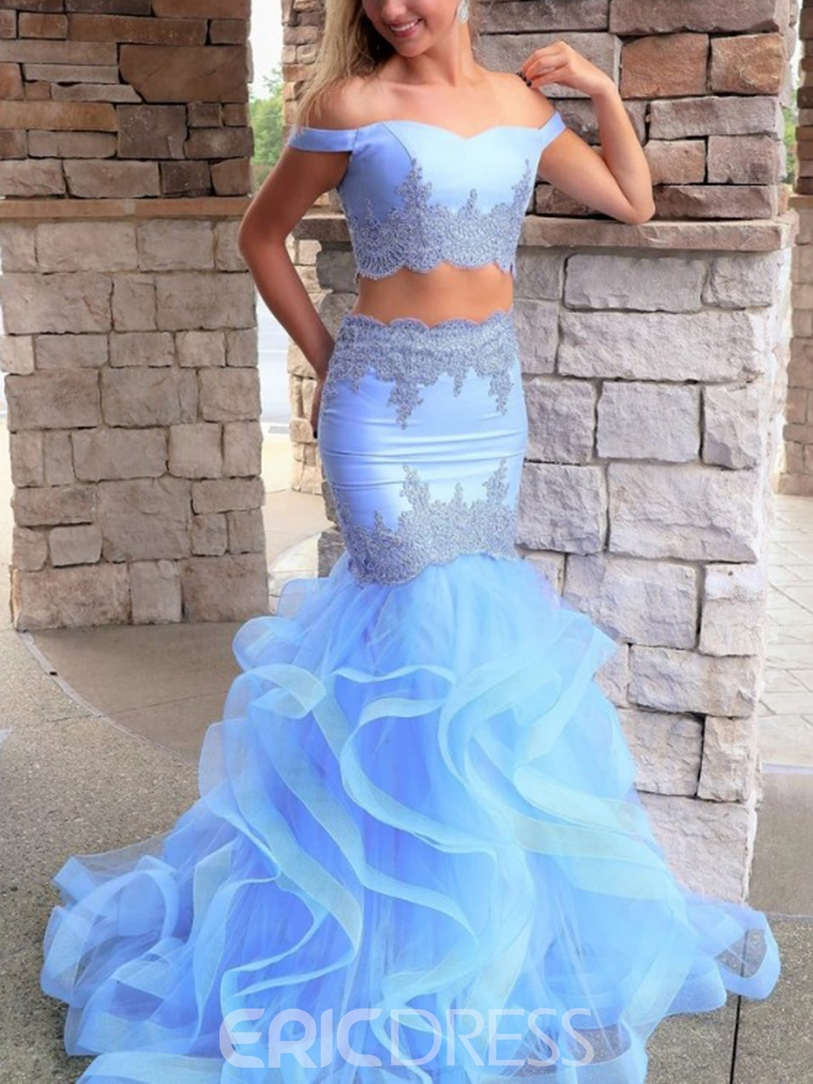 Ericdress Off-The-Shoulder Appliques Two Pieces Prom Dress 2019