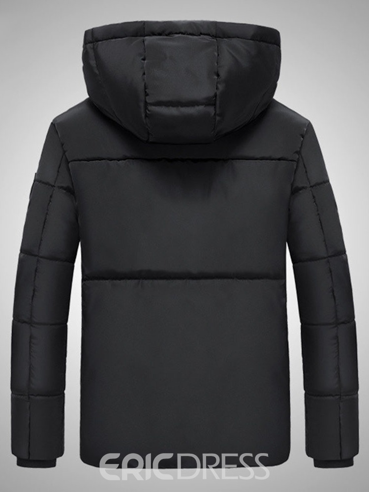 Ericdress Mid-Length Hooded Patchwork Casual Men's Down Jacket