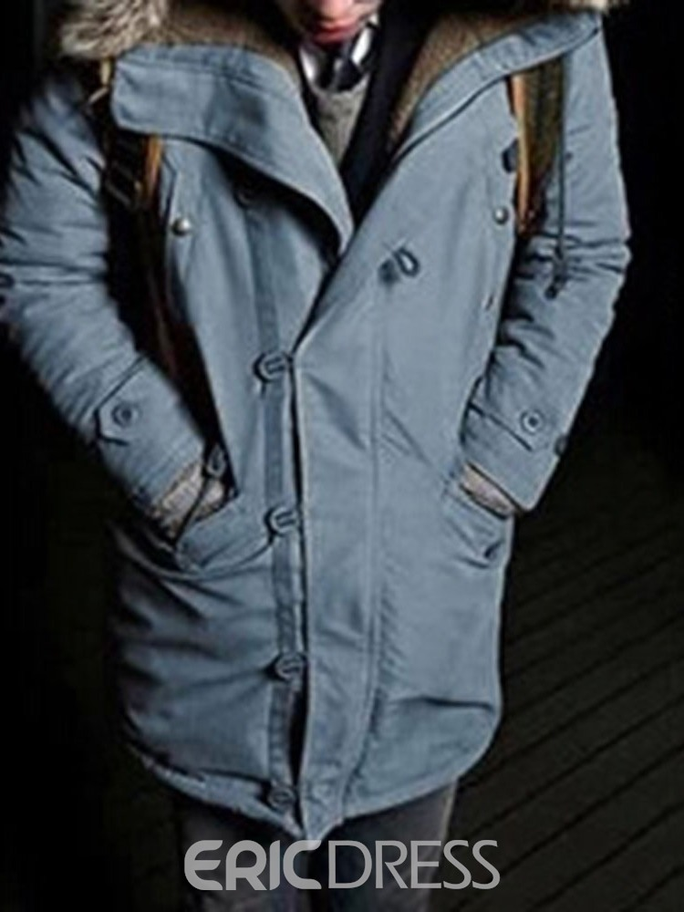 Ericdress Patchwork Mid-Length Hooded Casual Men's Down Jacket
