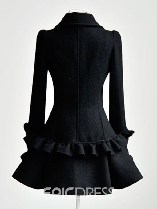 Ericdress Falbala Double-Breasted A Line Mid-Length Lapel Overcoat