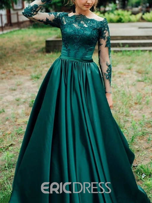 Ericdress Long Sleeves Appliques Prom Dress 2019