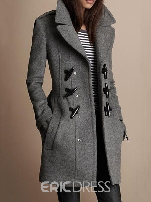 Ericdress Straight Horn Button Notched Lapel Mid-Length Overcoat