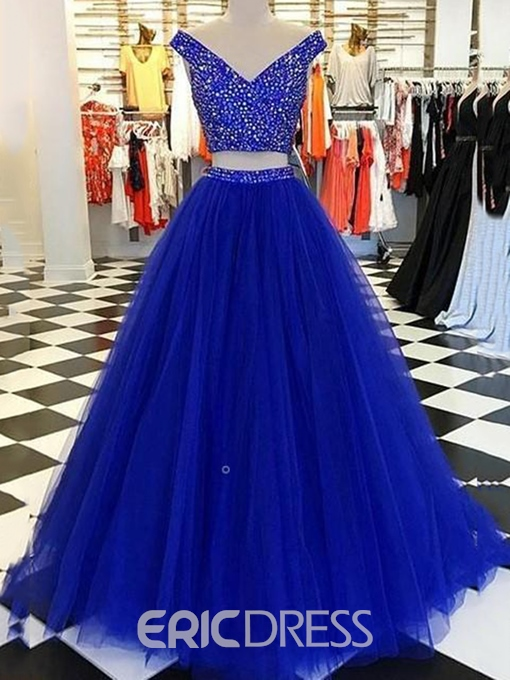Ericdress Beading V-Neck Two Pieces Prom Dress