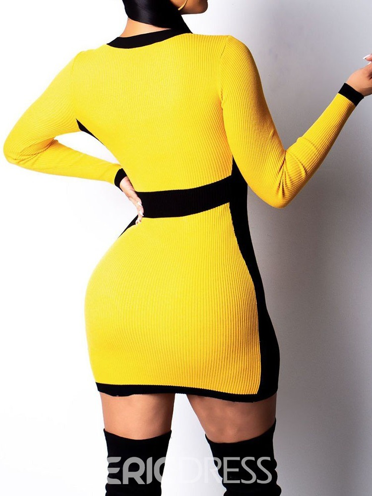 Ericdress Above Knee V-Neck Patchwork Bodycon Date Night/Going Out Dress