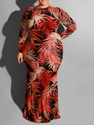 Ericdress Plus Size Floor-Length Hollow Long Sleeve Bodycon Regular Dress фото
