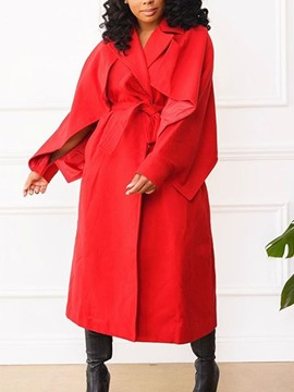 Ericdress Long Notched Lapel Long Sleeve Casual Trench Coat