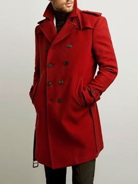 Ericdress Mid-Length Button Plain Double-Breasted Men's Coat
