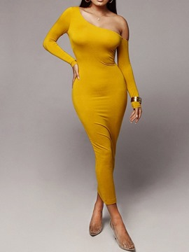 Ericdress Long Sleeve Mid-Calf Oblique Collar Mid Waist Regular Dress