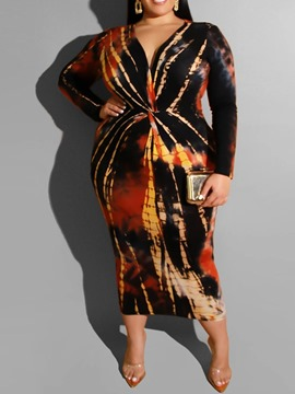 Ericdress Plus Size Long Sleeve V-Neck Mid-Calf Mid Waist Spring Dress