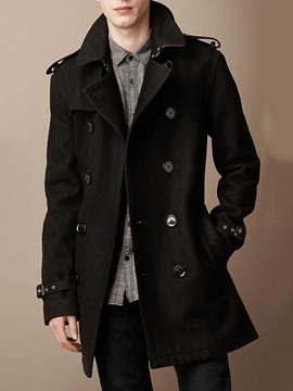Ericdress Button Plain Mid-Length Double-Breasted Men's Casual Coat