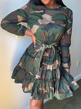 ericdress manches pointues au-dessus du genou robe camouflage mi-taille neuf