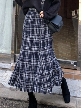 Ericdress Plaid Mid-Calf Color Block A-Line Casual Skirt