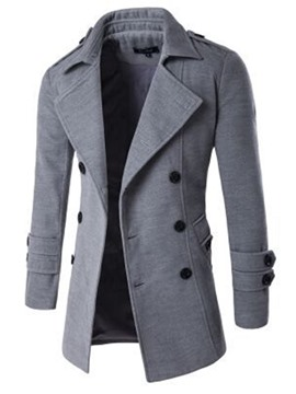 Ericdress Plain Button Mid-Length A Line Men's Casual Coat