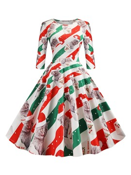 Ericdress Christmas Pattern Three-Quarter Sleeve Mid-Calf Print Regular Party/Cocktail Dress