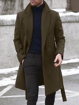 Ericdress Button Mid-Length Plain Double-Breasted Men's Coat