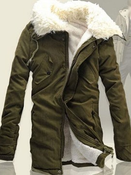 Ericdress Patchwork Hooded Mid-Length Casual Men's Down Jacket