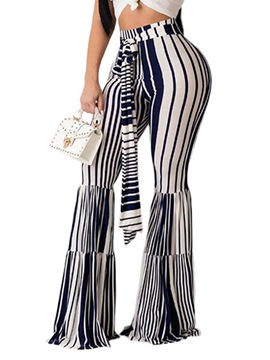 Ericdress Slim Color Block Lace-Up Bellbottoms High Waist Casual Pants