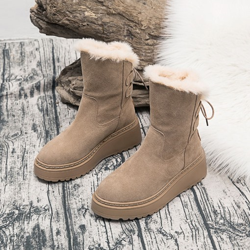 Ericdress Lace-Up Back Plain Round Toe Women's Winter Boots