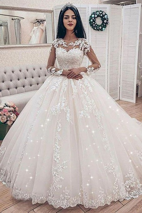 Ericdress Long Sleeves Appliques Ball Gown Church Wedding Dress 2020