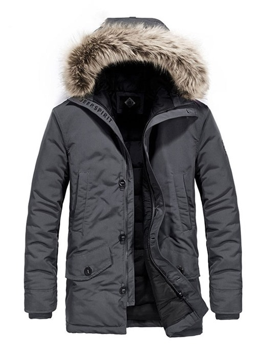 Ericdress Mid-Length Hooded Zipper Casual Men's Down Jacket