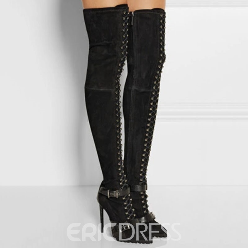 Ericdress Pointed Toe Stiletto Heel Color Block Sexy Women's Knee High Boots
