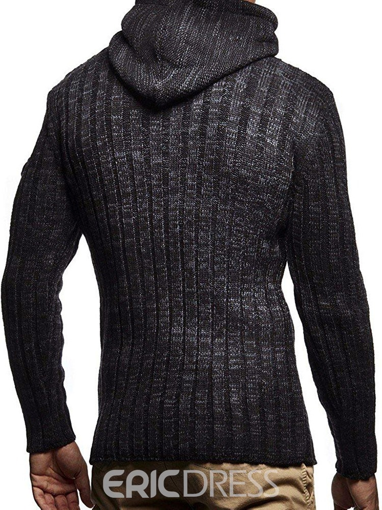 Ericdress Mid-Length Plain Hooded Slim Fashion Men's Sweater