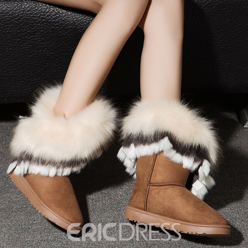 Ericdress Color Block Slip-On Women's Snow Boots