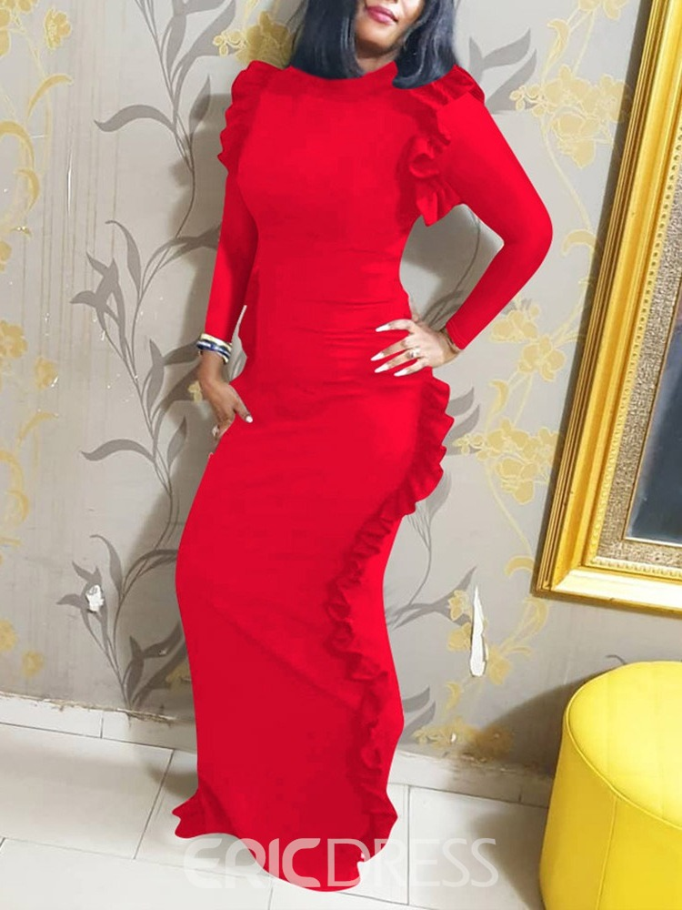 Ericdress Floor-Length Nine Points Sleeve Stand Collar Bodycon Pullover Dress
