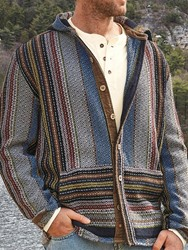 ericdress / Ericdress Button Hooded Standard Single-Breasted Mens Cardigan Sweater