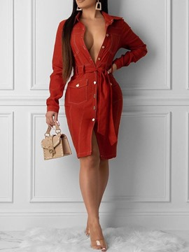 Ericdress Lapel Long Sleeve Pocket Plain Fashion Dress