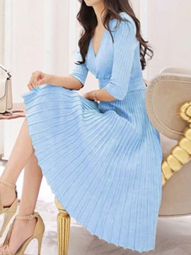 Ericdress Pleated Mid-Calf Three-Quarter Sleeve Standard-Waist Pullover Dress