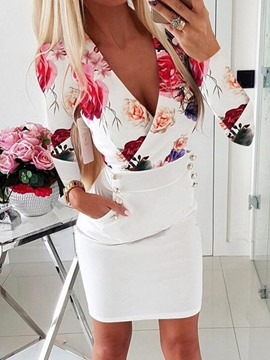 Ericdress Long Sleeve Above Knee Print Floral Bodycon Dress