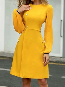 Ericdress Long Sleeve Above Knee Round Neck Plain Pullover Dress